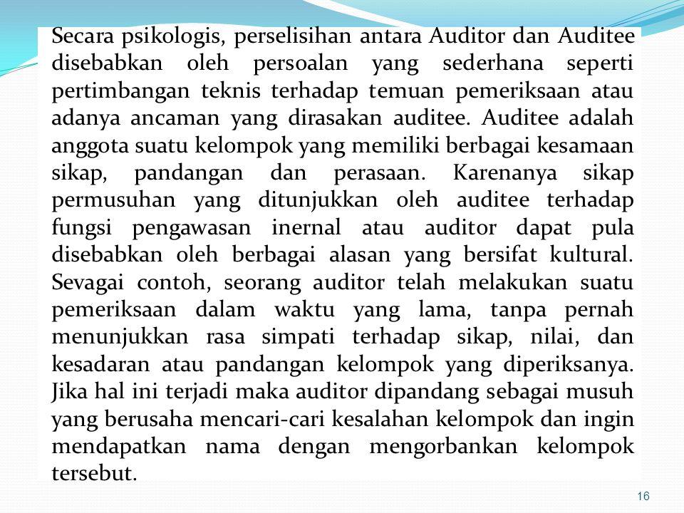 16 Secara psikologis, perselisihan antara Auditor dan Auditee disebabkan oleh persoalan yang sederhana seperti pertimbangan teknis terhadap temuan pem
