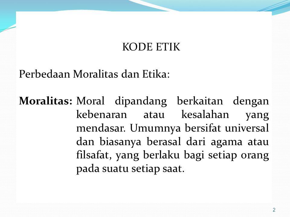 3 KODE ETIK (lanjutan…..) Perbedaan Moralitas dan Etika: Etika:Kode etik dipandang lebih sederhana, bukan masalah kebenaran atau kesalahan, tetapi lebih cenderung kapada kewajaran, yang selalu berjalan dengan kode moral masyarakat yang juga kadang perluasan dari prinsip moral tertentu.