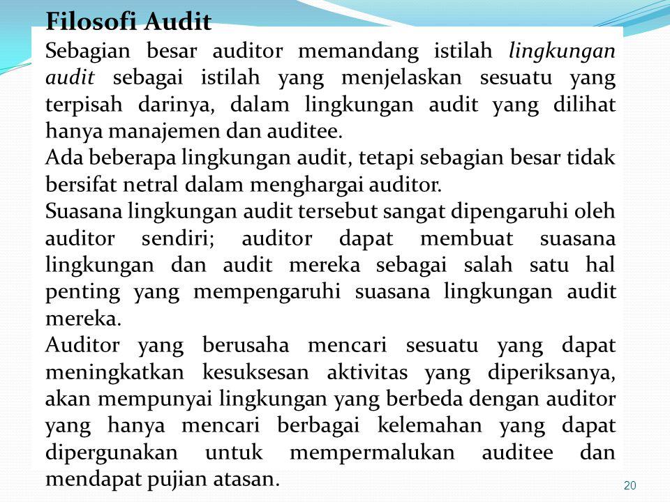 20 Filosofi Audit Sebagian besar auditor memandang istilah lingkungan audit sebagai istilah yang menjelaskan sesuatu yang terpisah darinya, dalam ling