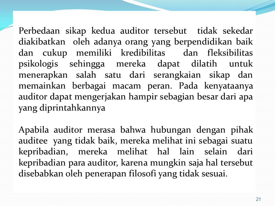 21 Perbedaan sikap kedua auditor tersebut tidak sekedar diakibatkan oleh adanya orang yang berpendidikan baik dan cukup memiliki kredibilitas dan flek