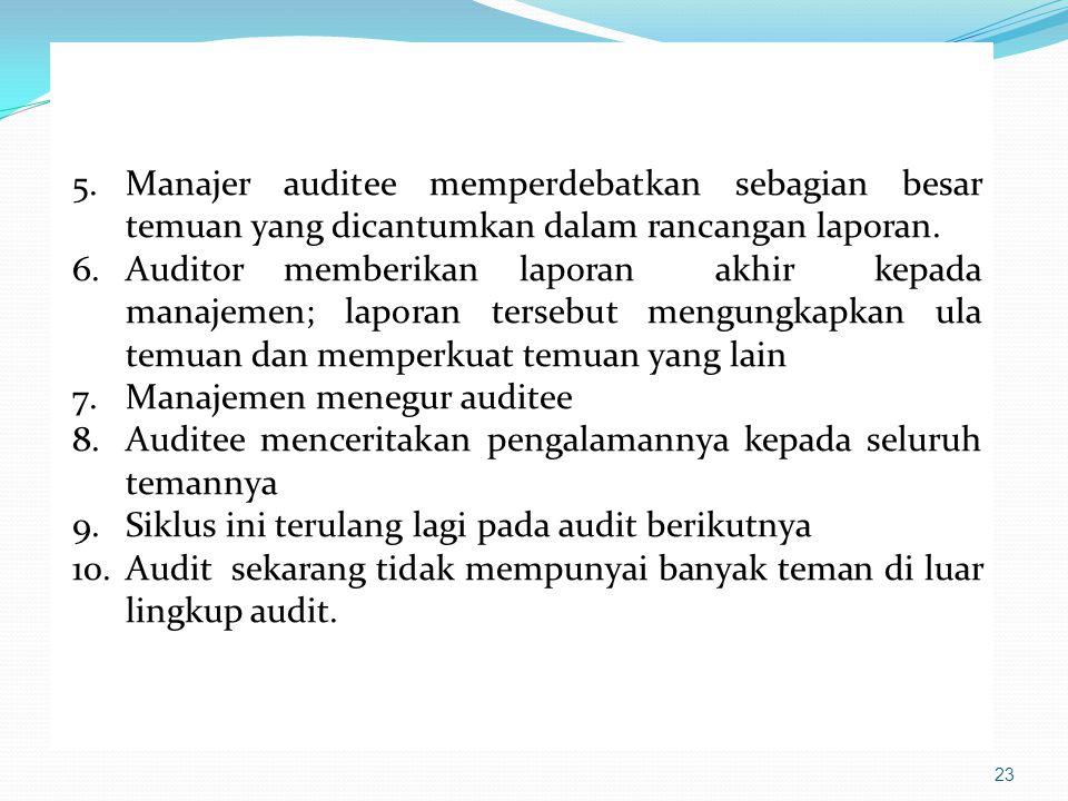 23 5.Manajer auditee memperdebatkan sebagian besar temuan yang dicantumkan dalam rancangan laporan. 6.Auditor memberikan laporan akhir kepada manajeme