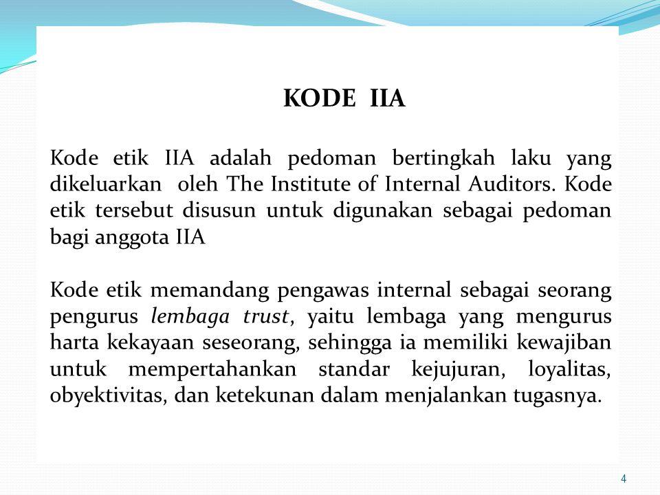 4 KODE IIA Kode etik IIA adalah pedoman bertingkah laku yang dikeluarkan oleh The Institute of Internal Auditors. Kode etik tersebut disusun untuk dig