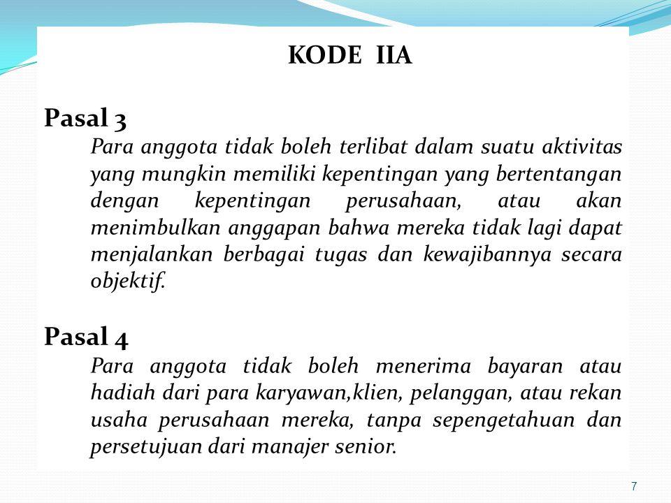 7 KODE IIA Pasal 3 Para anggota tidak boleh terlibat dalam suatu aktivitas yang mungkin memiliki kepentingan yang bertentangan dengan kepentingan peru