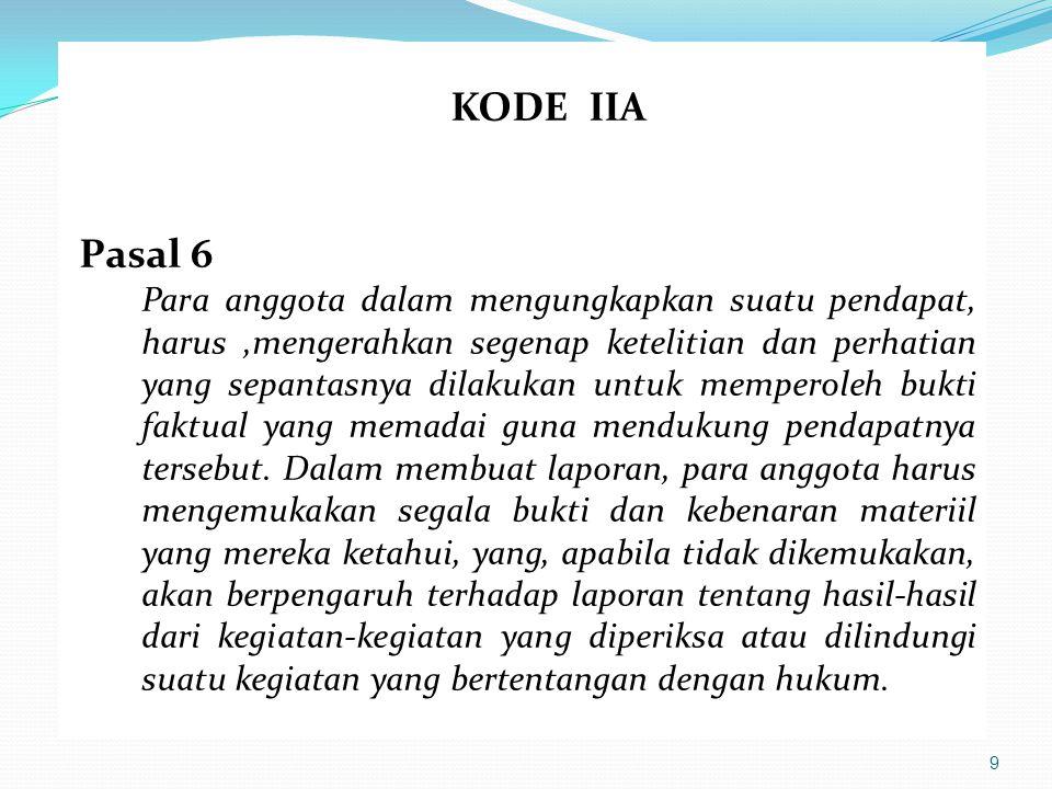 10 KODE IIA Pasal 7 Para anggota harus berusaha untuk meningkatkan kecakapan dan keefektifan dalam menjalankan pekerjaannya.