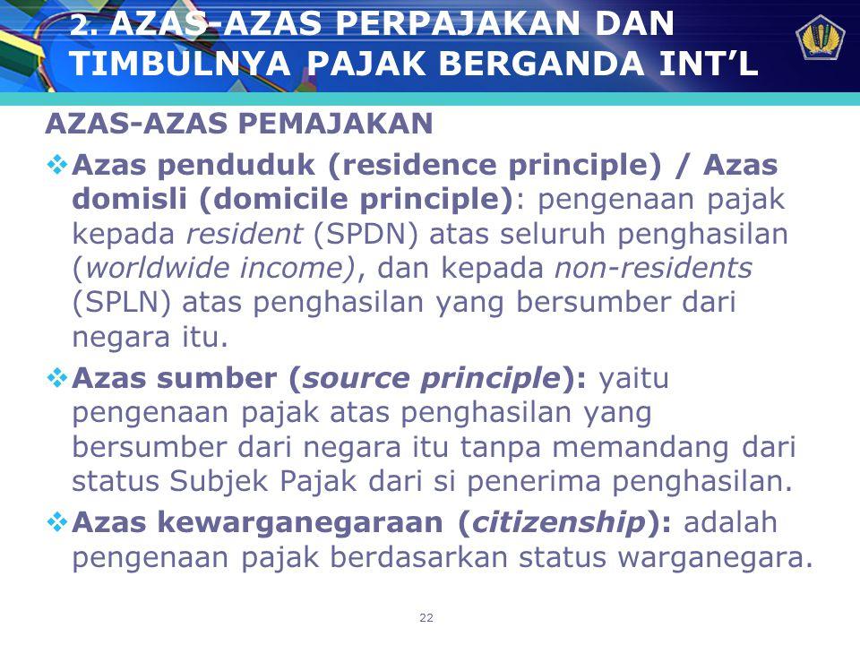 22 2. AZAS-AZAS PERPAJAKAN DAN TIMBULNYA PAJAK BERGANDA INT'L AZAS-AZAS PEMAJAKAN  Azas penduduk (residence principle) / Azas domisli (domicile princ