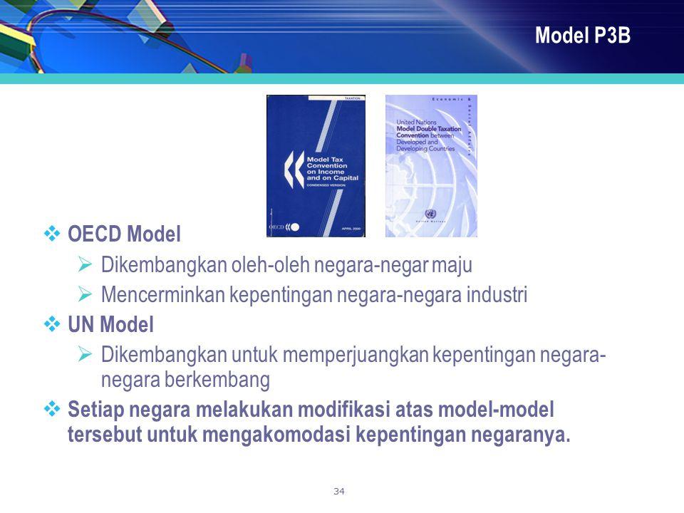 34 Model P3B  OECD Model  Dikembangkan oleh-oleh negara-negar maju  Mencerminkan kepentingan negara-negara industri  UN Model  Dikembangkan untuk