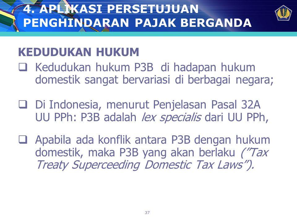 37 4. APLIKASI PERSETUJUAN PENGHINDARAN PAJAK BERGANDA KEDUDUKAN HUKUM  Kedudukan hukum P3B di hadapan hukum domestik sangat bervariasi di berbagai n