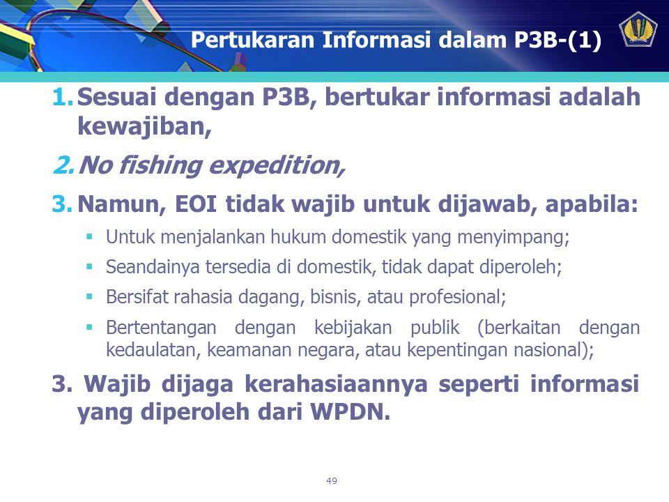 49 Pertukaran Informasi dalam P3B-(1) 1.Sesuai dengan P3B, bertukar informasi adalah kewajiban, 2.No fishing expedition, 3.Namun, EOI tidak wajib untu