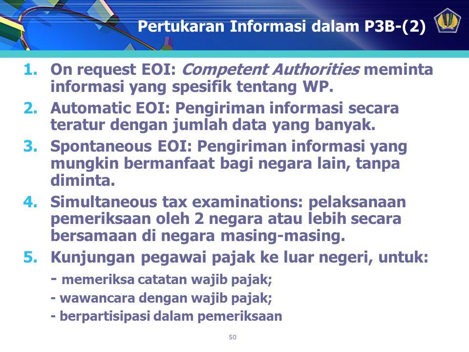 50 Pertukaran Informasi dalam P3B-(2) 1.On request EOI: Competent Authorities meminta informasi yang spesifik tentang WP. 2.Automatic EOI: Pengiriman