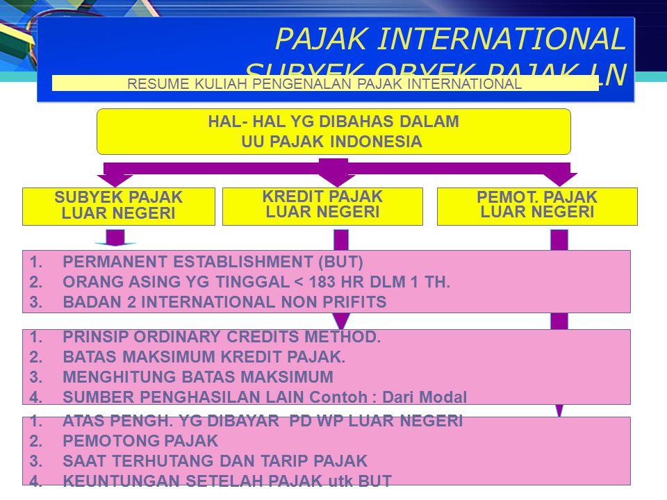 PAJAK INTERNATIONAL SUBYEK OBYEK PAJAK LN HAL- HAL YG DIBAHAS DALAM UU PAJAK INDONESIA SUBYEK PAJAK LUAR NEGERI PEMOT. PAJAK LUAR NEGERI 1.ATAS PENGH.