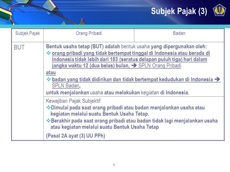8 Subjek Pajak (3) Subjek PajakOrang PribadiBadan BUT Bentuk usaha tetap (BUT) adalah bentuk usaha yang dipergunakan oleh:  orang pribadi yang tidak