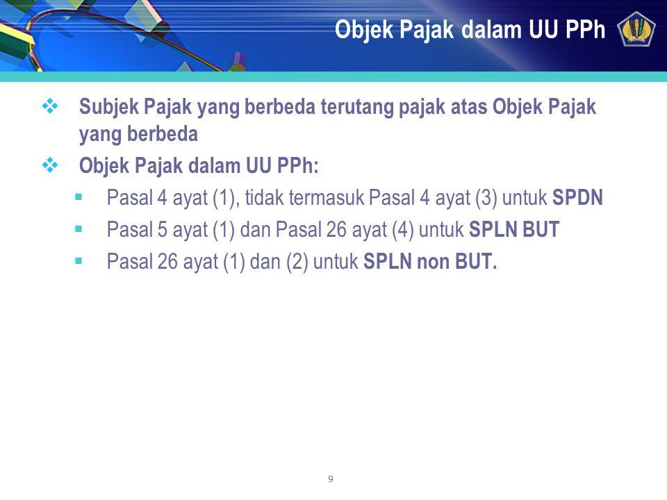 9 Objek Pajak dalam UU PPh  Subjek Pajak yang berbeda terutang pajak atas Objek Pajak yang berbeda  Objek Pajak dalam UU PPh:  Pasal 4 ayat (1), ti