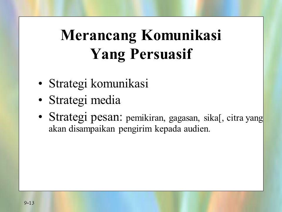 9-13 Merancang Komunikasi Yang Persuasif Strategi komunikasi Strategi media Strategi pesan: pemikiran, gagasan, sika[, citra yang akan disampaikan pen