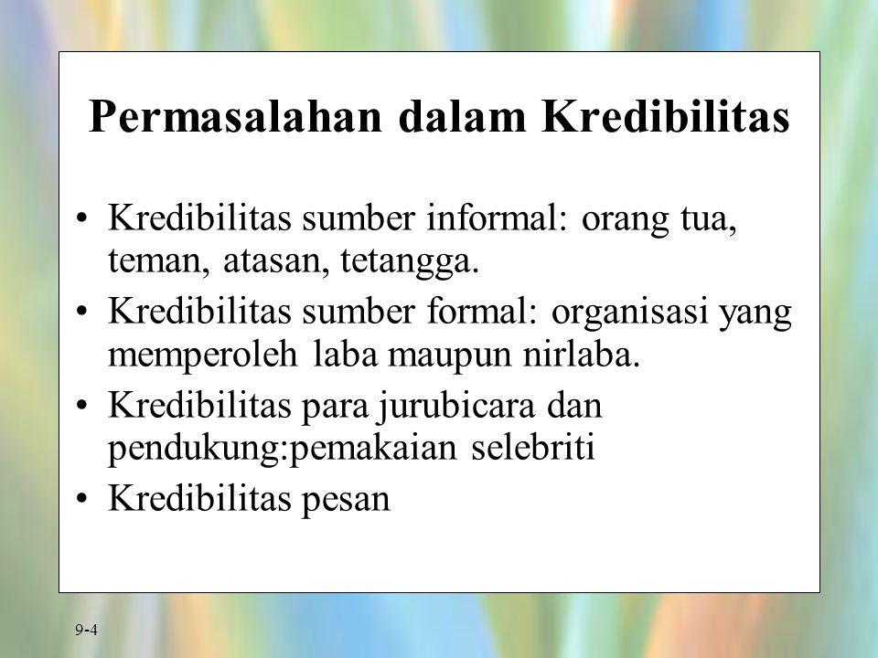 9-4 Permasalahan dalam Kredibilitas Kredibilitas sumber informal: orang tua, teman, atasan, tetangga. Kredibilitas sumber formal: organisasi yang memp