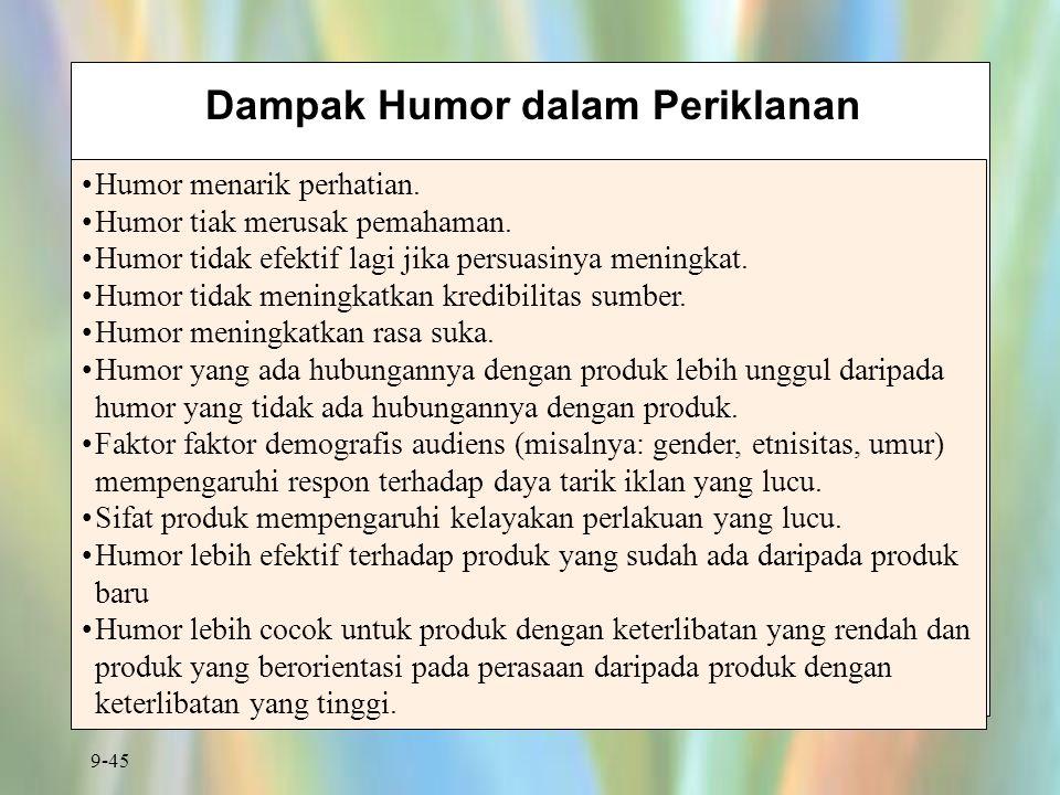 9-45 Dampak Humor dalam Periklanan Humor menarik perhatian. Humor tiak merusak pemahaman. Humor tidak efektif lagi jika persuasinya meningkat. Humor t