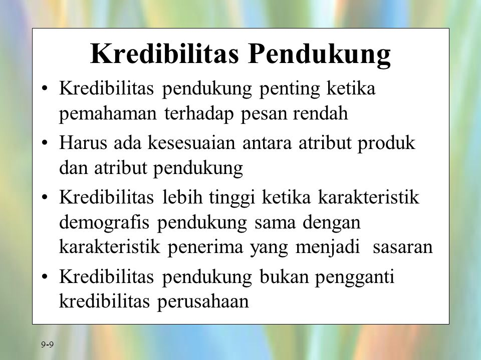 9-20 Radio: Kemampuan dan Keterbatasannya High geographic and demographic selectivity Short lead time Relatively inexpensive Good local coverage Short exposure time Audio only High clutter Zapping possible Delayed feedback through day-after recall tests