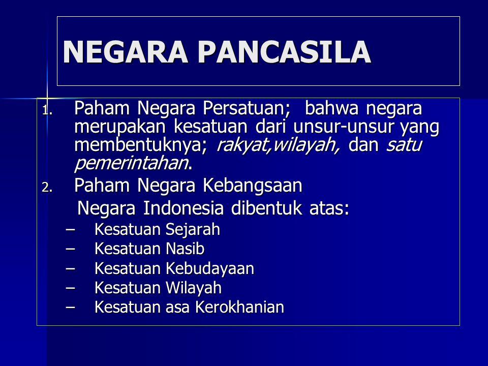 NEGARA PANCASILA 1. Paham Negara Persatuan; bahwa negara merupakan kesatuan dari unsur-unsur yang membentuknya; rakyat,wilayah, dan satu pemerintahan.