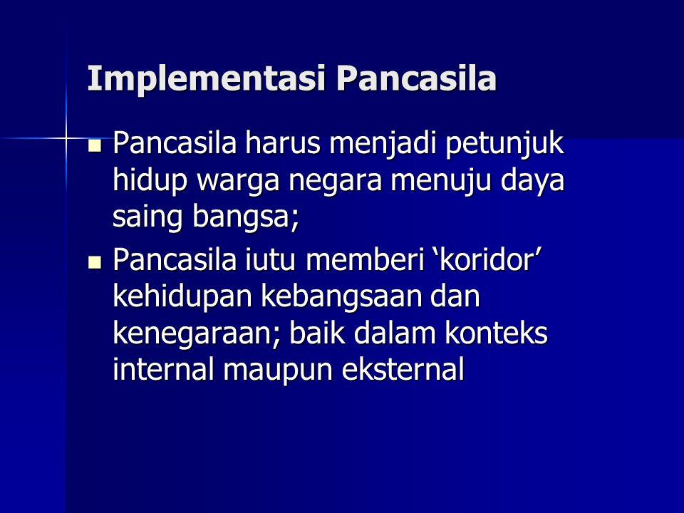 Implementasi Pancasila Pancasila harus menjadi petunjuk hidup warga negara menuju daya saing bangsa; Pancasila harus menjadi petunjuk hidup warga nega