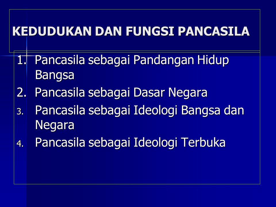 KEDUDUKAN DAN FUNGSI PANCASILA 1.Pancasila sebagai Pandangan Hidup Bangsa 2.