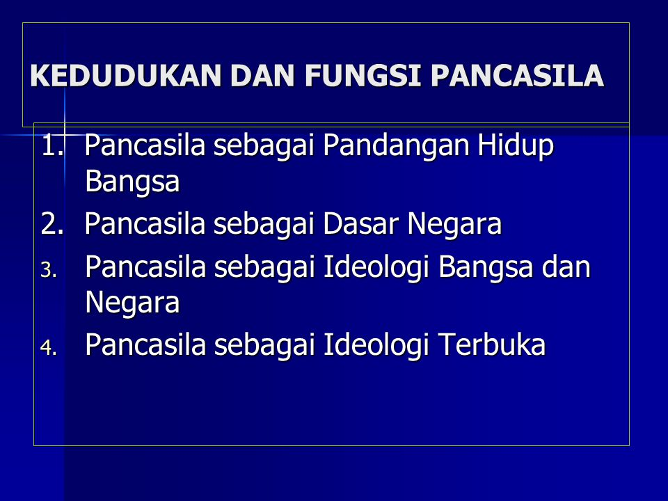 VISI IDEOLOGIS BANGSA INDONESIA Pancasila sebagai Ideologi Persatuan Pancasila sebagai Ideologi Persatuan Pancasila sebagai Ideologi Pembangunan Pancasila sebagai Ideologi Pembangunan Pancasila sebagai Ideologi Terbuka Pancasila sebagai Ideologi Terbuka