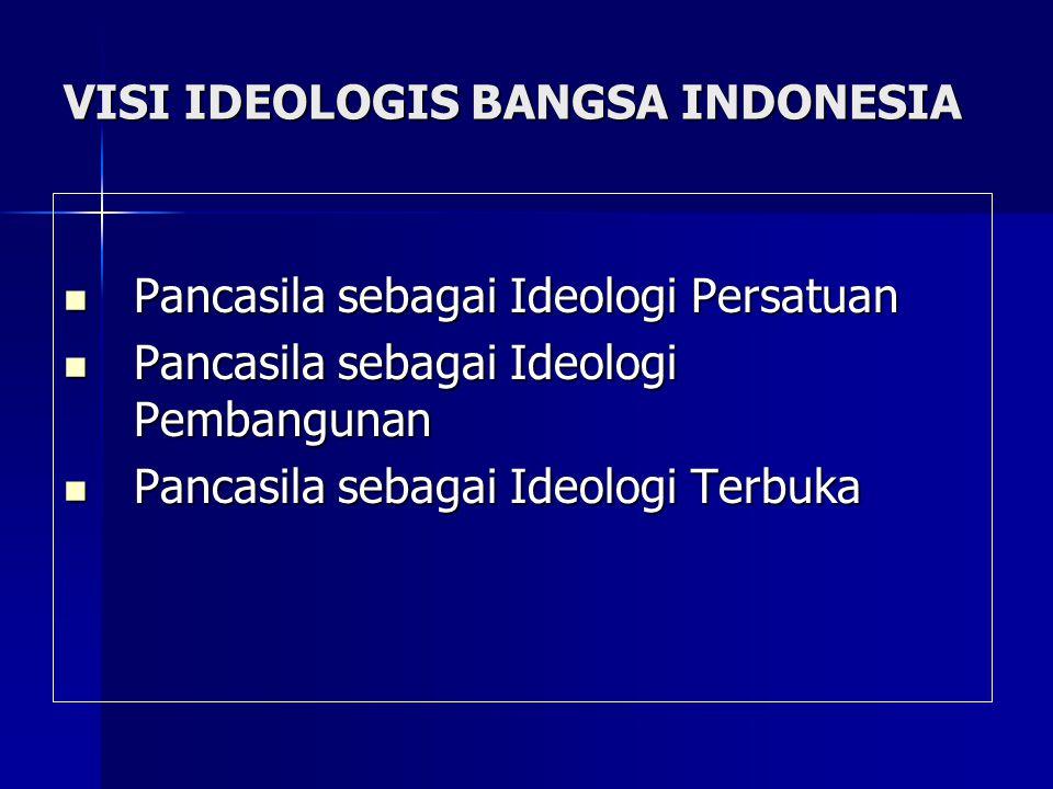 VISI IDEOLOGIS BANGSA INDONESIA Pancasila sebagai Ideologi Persatuan Pancasila sebagai Ideologi Persatuan Pancasila sebagai Ideologi Pembangunan Panca