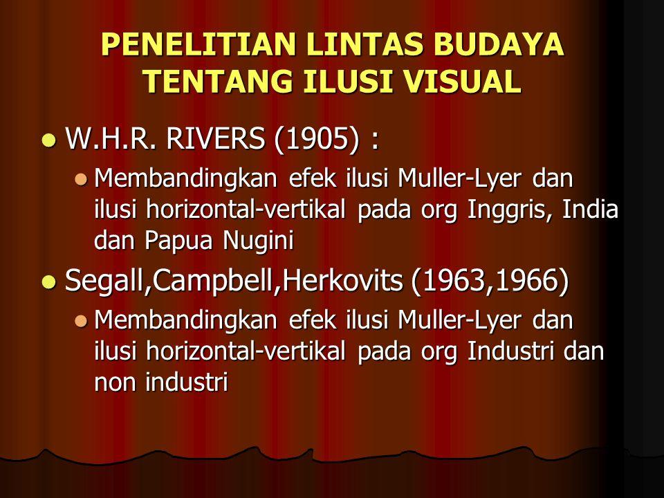 PENELITIAN LINTAS BUDAYA TENTANG ILUSI VISUAL W.H.R. RIVERS (1905) : W.H.R. RIVERS (1905) : Membandingkan efek ilusi Muller-Lyer dan ilusi horizontal-