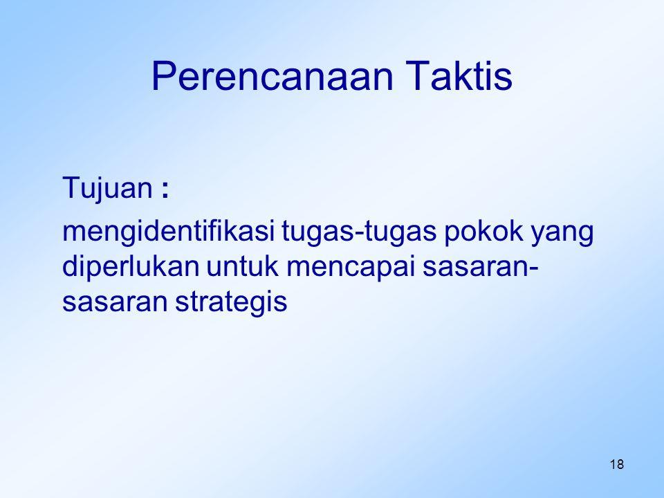 18 Perencanaan Taktis Tujuan : mengidentifikasi tugas-tugas pokok yang diperlukan untuk mencapai sasaran- sasaran strategis