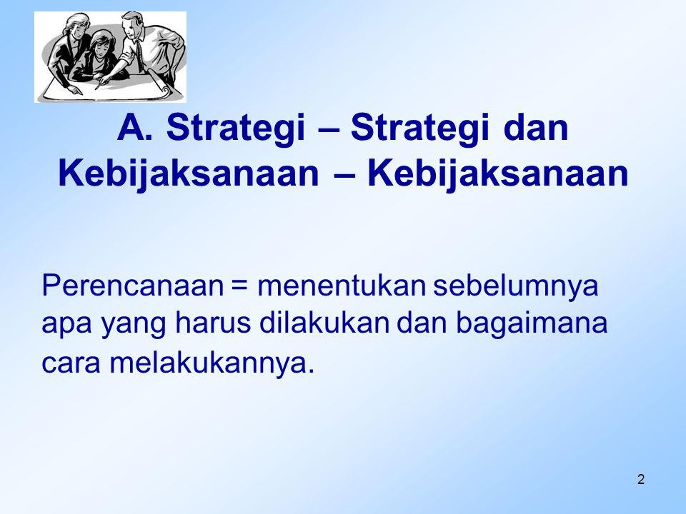 2 A. Strategi – Strategi dan Kebijaksanaan – Kebijaksanaan Perencanaan = menentukan sebelumnya apa yang harus dilakukan dan bagaimana cara melakukanny