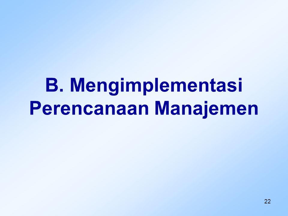 22 B. Mengimplementasi Perencanaan Manajemen
