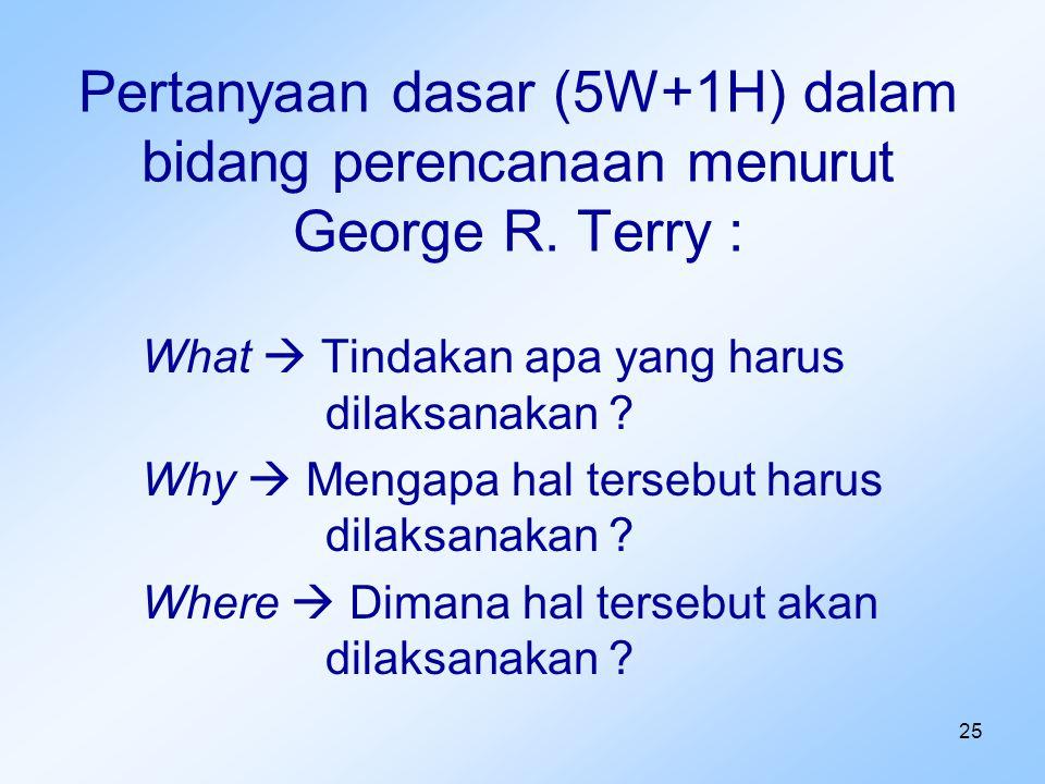25 Pertanyaan dasar (5W+1H) dalam bidang perencanaan menurut George R. Terry : What  Tindakan apa yang harus dilaksanakan ? Why  Mengapa hal tersebu