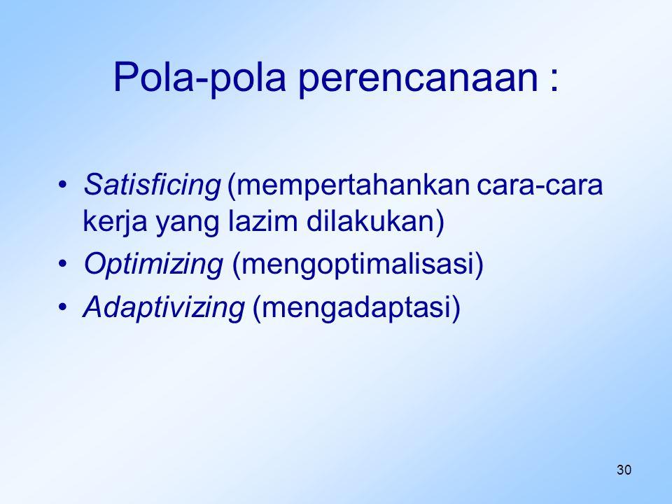 30 Pola-pola perencanaan : Satisficing (mempertahankan cara-cara kerja yang lazim dilakukan) Optimizing (mengoptimalisasi) Adaptivizing (mengadaptasi)
