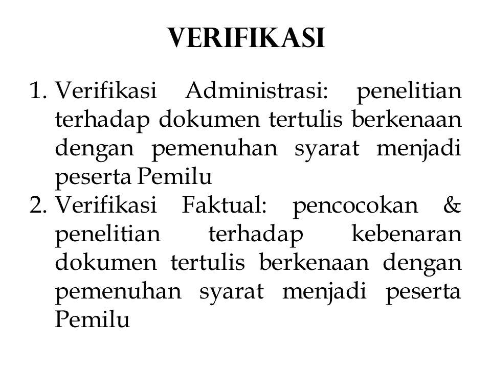 1.Verifikasi Administrasi: penelitian terhadap dokumen tertulis berkenaan dengan pemenuhan syarat menjadi peserta Pemilu 2.Verifikasi Faktual: pencocokan & penelitian terhadap kebenaran dokumen tertulis berkenaan dengan pemenuhan syarat menjadi peserta Pemilu VERIFIKASI