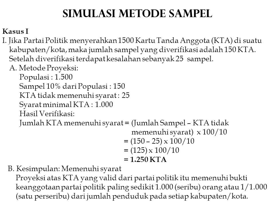 Simulasi METODE Sampel Kasus I I. Jika Partai Politik menyerahkan 1500 Kartu Tanda Anggota (KTA) di suatu kabupaten/kota, maka jumlah sampel yang dive