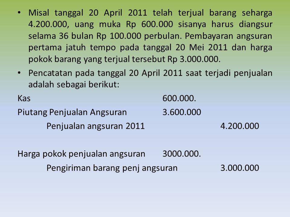 Misal tanggal 20 April 2011 telah terjual barang seharga 4.200.000, uang muka Rp 600.000 sisanya harus diangsur selama 36 bulan Rp 100.000 perbulan.