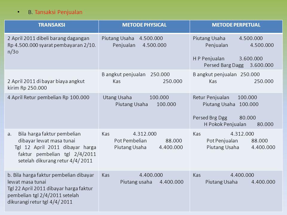 B. Tansaksi Penjualan TRANSAKSIMETODE PHYSICALMETODE PERPETUAL 2 April 2011 dibeli barang dagangan Rp 4.500.000 syarat pembayaran 2/10. n/3o Piutang U