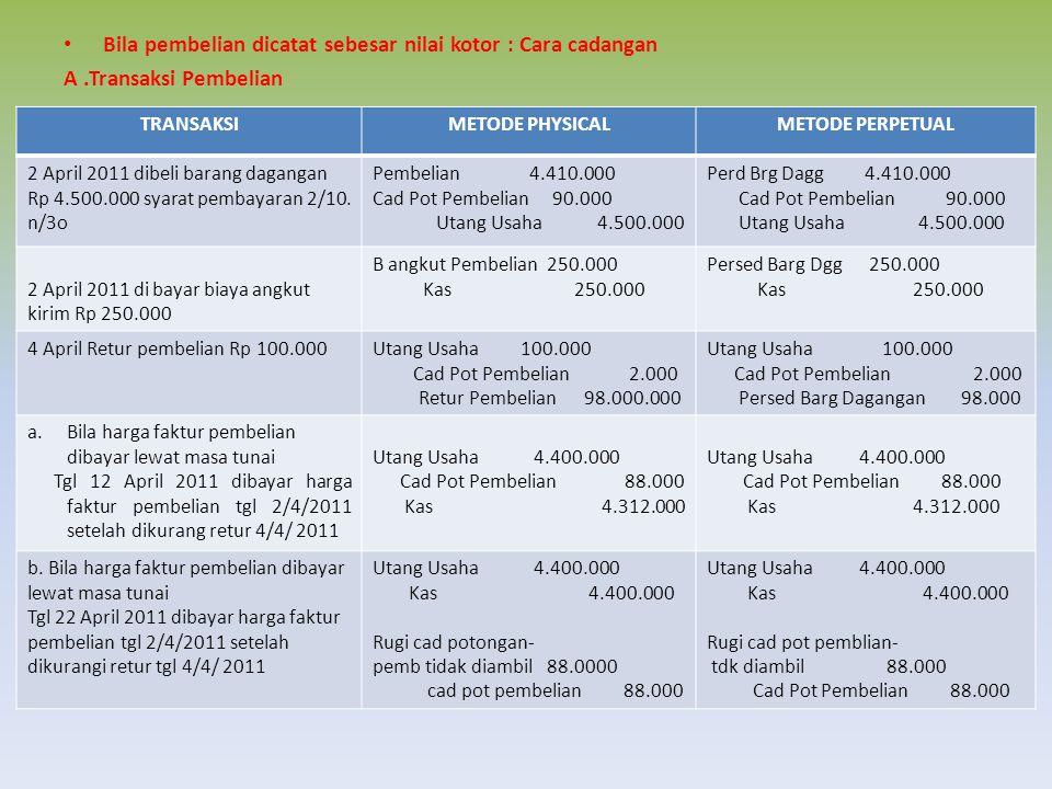 Bila pembelian dicatat sebesar nilai kotor : Cara cadangan A.Transaksi Pembelian TRANSAKSIMETODE PHYSICALMETODE PERPETUAL 2 April 2011 dibeli barang dagangan Rp 4.500.000 syarat pembayaran 2/10.