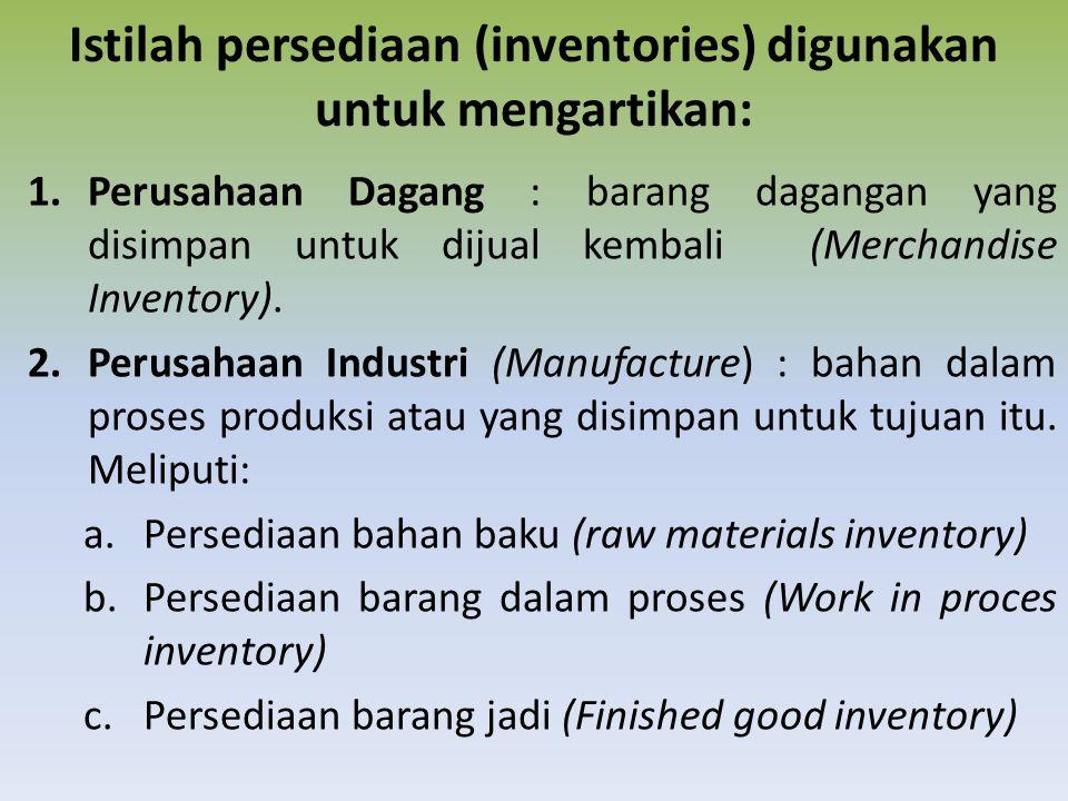 Istilah persediaan (inventories) digunakan untuk mengartikan: 1.Perusahaan Dagang : barang dagangan yang disimpan untuk dijual kembali (Merchandise Inventory).
