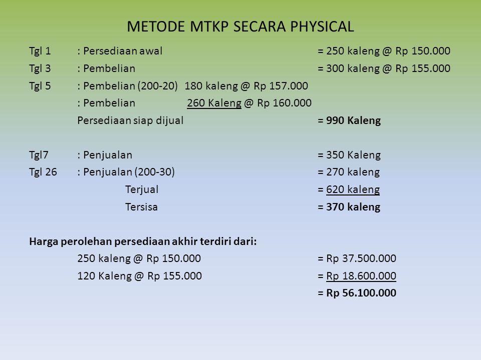 METODE MTKP SECARA PHYSICAL Tgl 1 : Persediaan awal= 250 kaleng @ Rp 150.000 Tgl 3: Pembelian= 300 kaleng @ Rp 155.000 Tgl 5: Pembelian (200-20) 180 k
