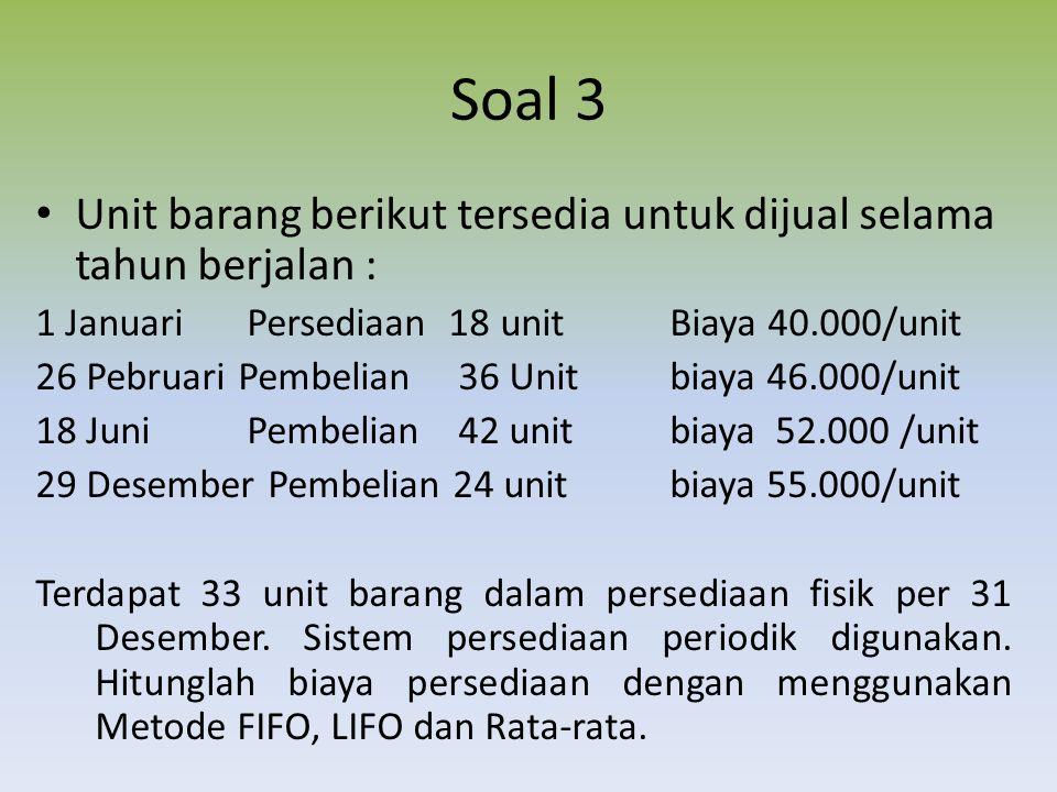 Soal 3 Unit barang berikut tersedia untuk dijual selama tahun berjalan : 1 JanuariPersediaan 18 unitBiaya 40.000/unit 26 Pebruari Pembelian 36 Unitbia
