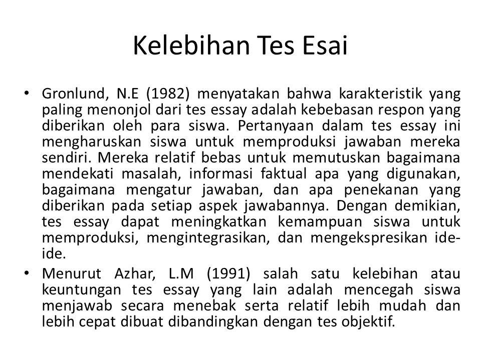Kelemahan Tes Esai Suherman, (1993) a.