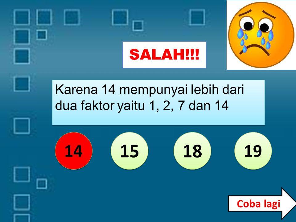 BENAR... 14 15 18 19 Karena 19 mempunyai tepat dua faktor yaitu 1 dan 19 Karena 19 mempunyai tepat dua faktor yaitu 1 dan 19 Soal berikutnya