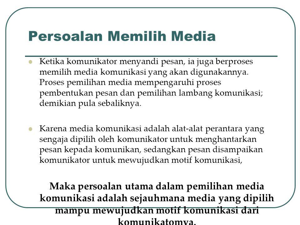 Persoalan Memilih Media Ketika komunikator menyandi pesan, ia juga berproses memilih media komunikasi yang akan digunakannya. Proses pemilihan media m