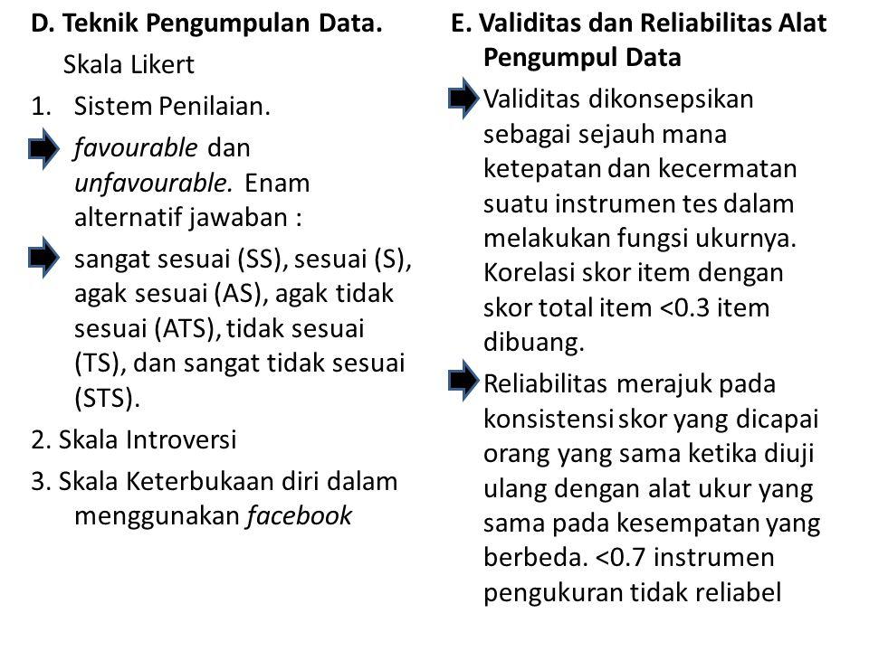 D. Teknik Pengumpulan Data. Skala Likert 1.Sistem Penilaian. favourable dan unfavourable. Enam alternatif jawaban : sangat sesuai (SS), sesuai (S), ag