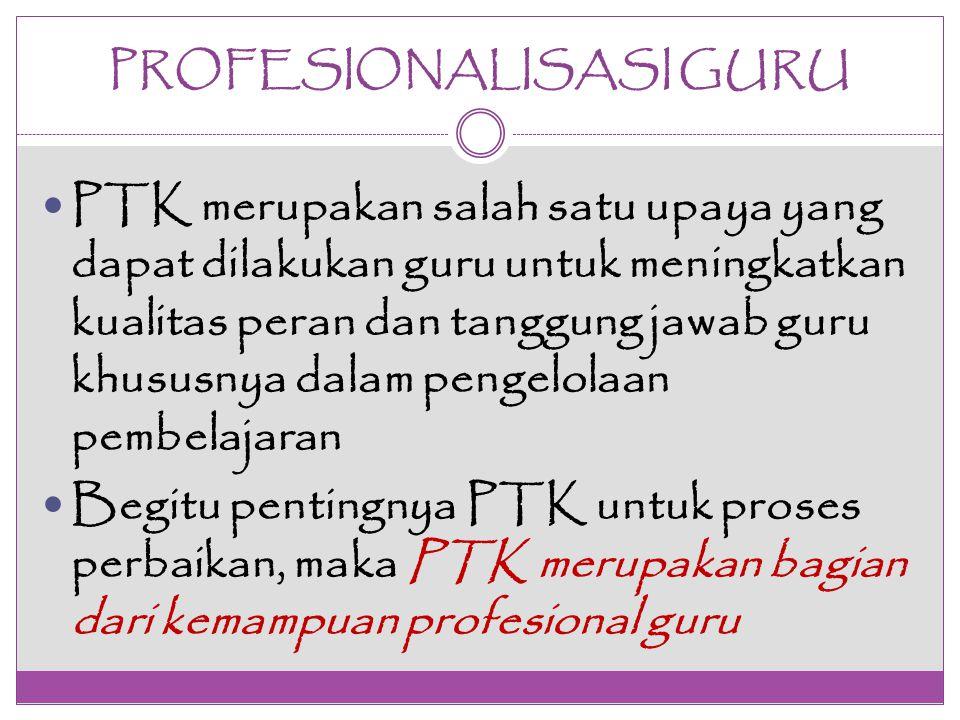 PROFESIONALISASI GURU PTK merupakan salah satu upaya yang dapat dilakukan guru untuk meningkatkan kualitas peran dan tanggung jawab guru khususnya dal