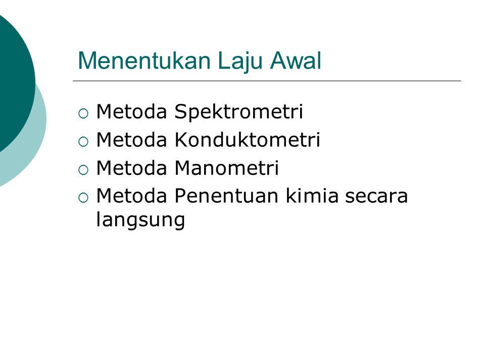 Menentukan Laju Awal  Metoda Spektrometri  Metoda Konduktometri  Metoda Manometri  Metoda Penentuan kimia secara langsung