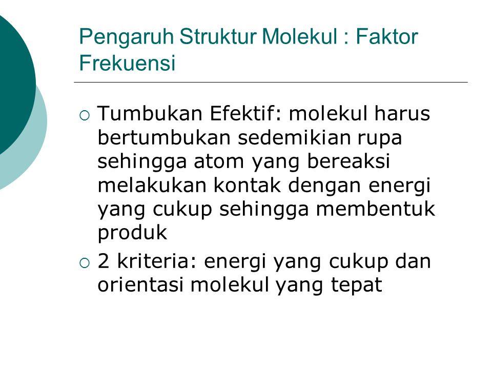 Pengaruh Struktur Molekul : Faktor Frekuensi  Tumbukan Efektif: molekul harus bertumbukan sedemikian rupa sehingga atom yang bereaksi melakukan konta