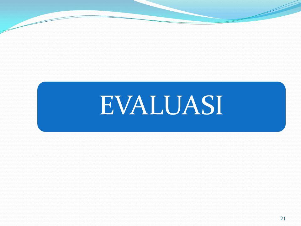 EVALUASI Proses Mengumpulkan informasi 1.digunakan untuk menentukan alternatif yang tepat dalam mengambil keputusan.