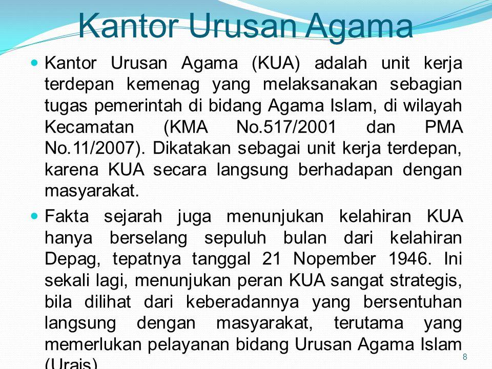 Kantor Urusan Agama Kantor Urusan Agama (KUA) adalah unit kerja terdepan kemenag yang melaksanakan sebagian tugas pemerintah di bidang Agama Islam, di