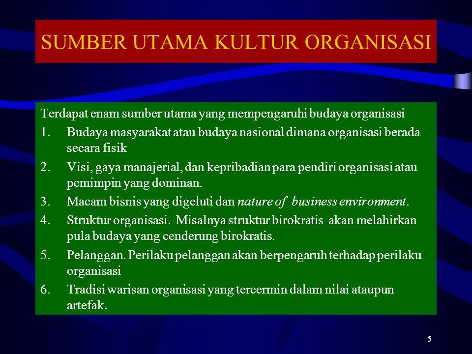 SUMBER UTAMA KULTUR ORGANISASI Terdapat enam sumber utama yang mempengaruhi budaya organisasi 1.Budaya masyarakat atau budaya nasional dimana organisa