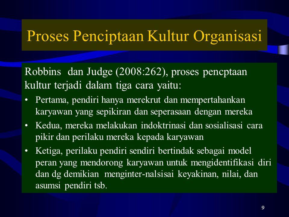 Proses Penciptaan Kultur Organisasi Robbins dan Judge (2008:262), proses pencptaan kultur terjadi dalam tiga cara yaitu: Pertama, pendiri hanya merekrut dan mempertahankan karyawan yang sepikiran dan seperasaan dengan mereka Kedua, mereka melakukan indoktrinasi dan sosialisasi cara pikir dan perilaku mereka kepada karyawan Ketiga, perilaku pendiri sendiri bertindak sebagai model peran yang mendorong karyawan untuk mengidentifikasi diri dan dg demikian menginter-nalsisai keyakinan, nilai, dan asumsi pendiri tsb.